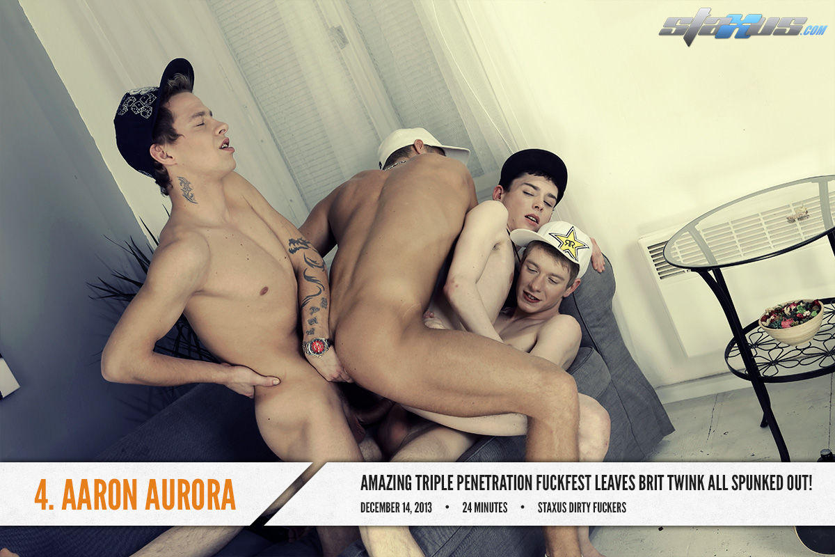 Milan Sharp joins other boys to gang fuck Aaron Aurora