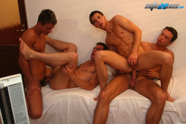 Two gorgeous doctors get plenty of cock and ass in this gay fourgy on the Staxus site (3)