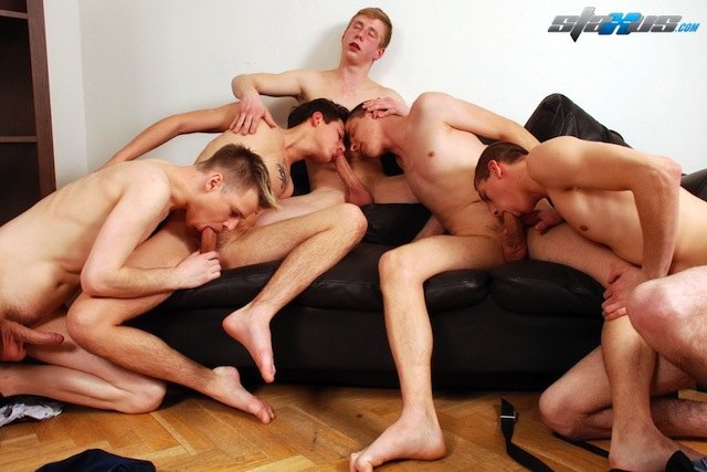 Staxus put together an awesome twink orgy with a gang of bareback boys! (2)